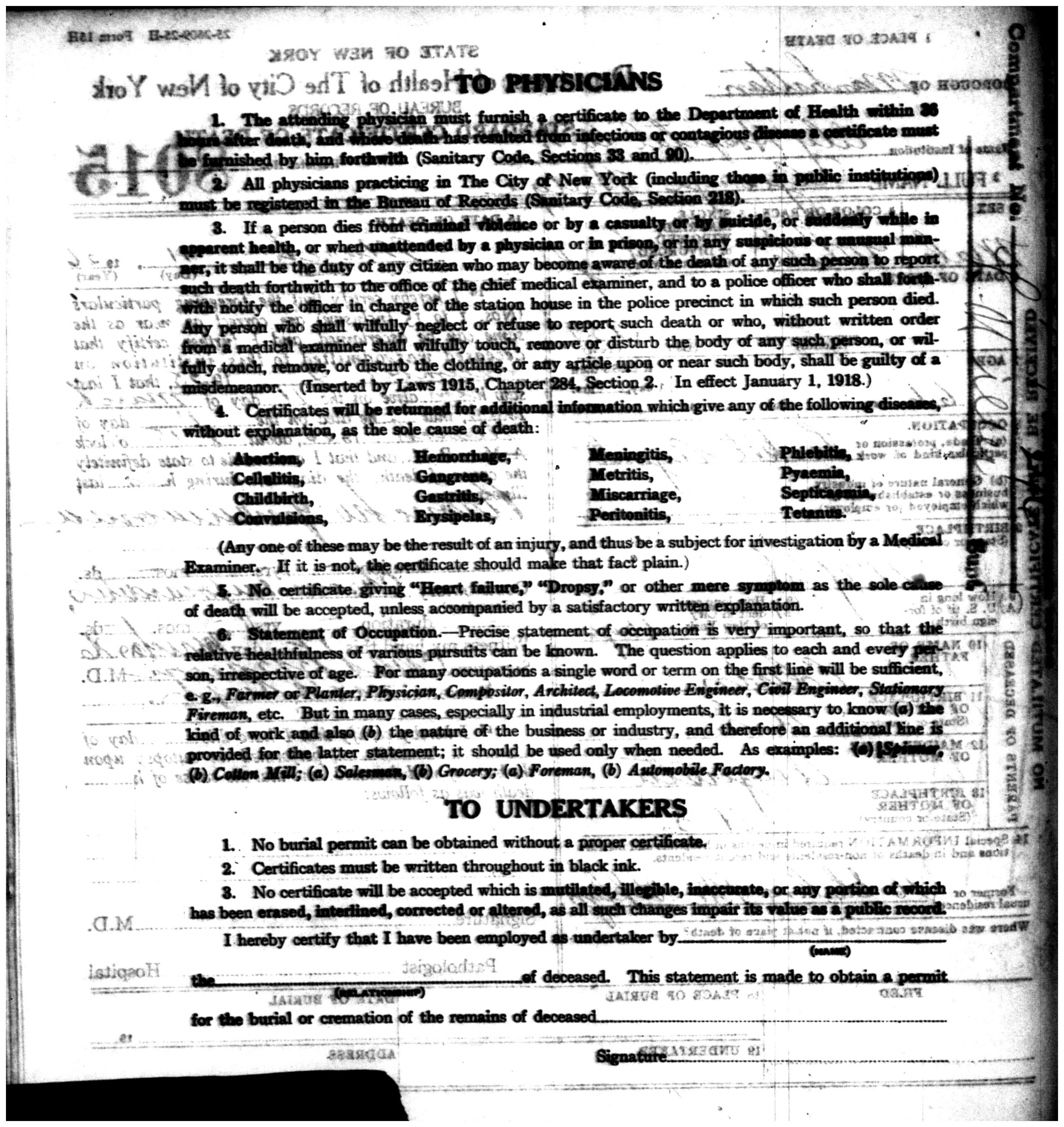 Documents Barker Wiegelman 1926 Death Certificate Manhattan New