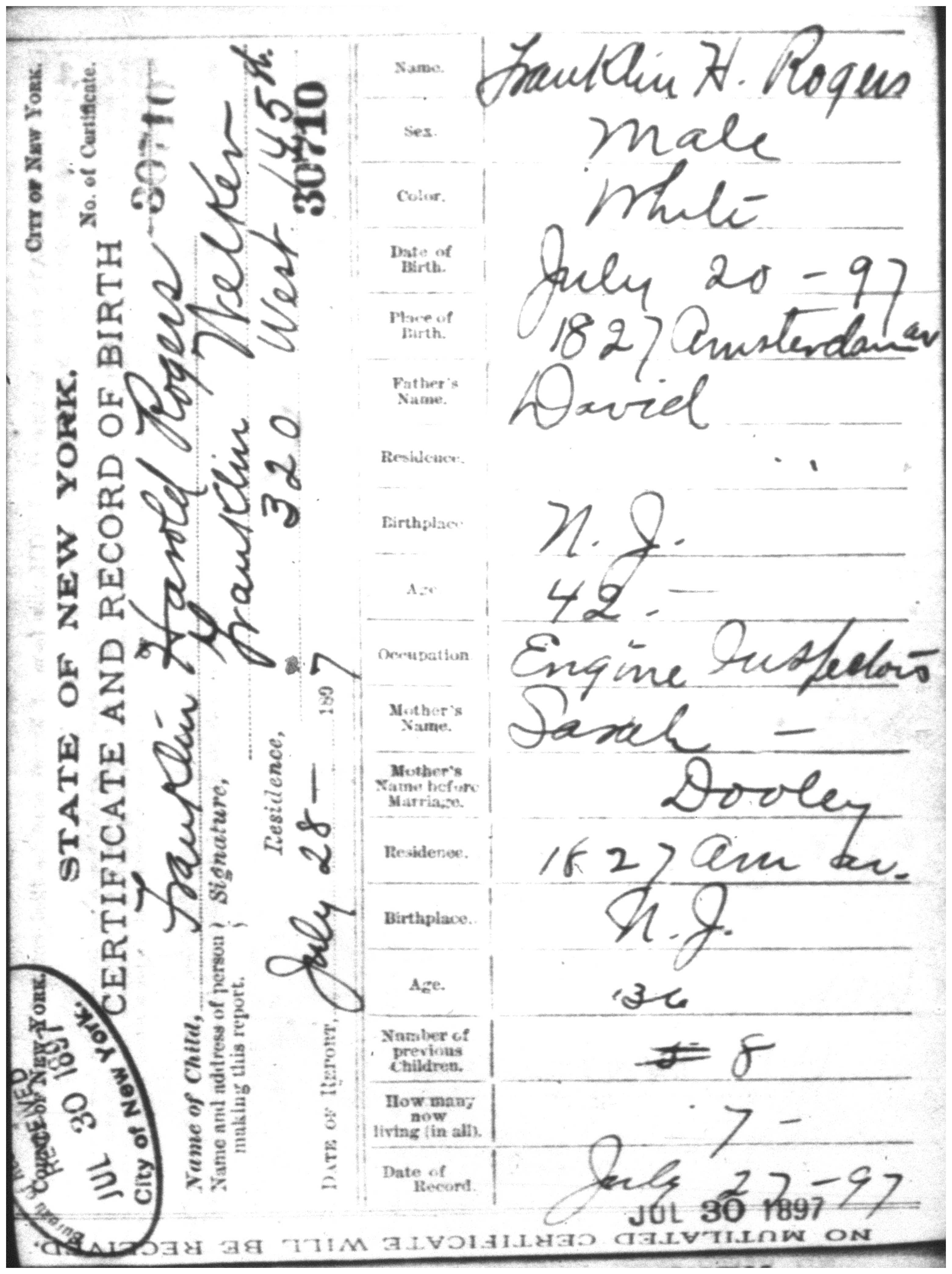 Documents Franklin Harold Rogers Birth Certificate 20 July 1897